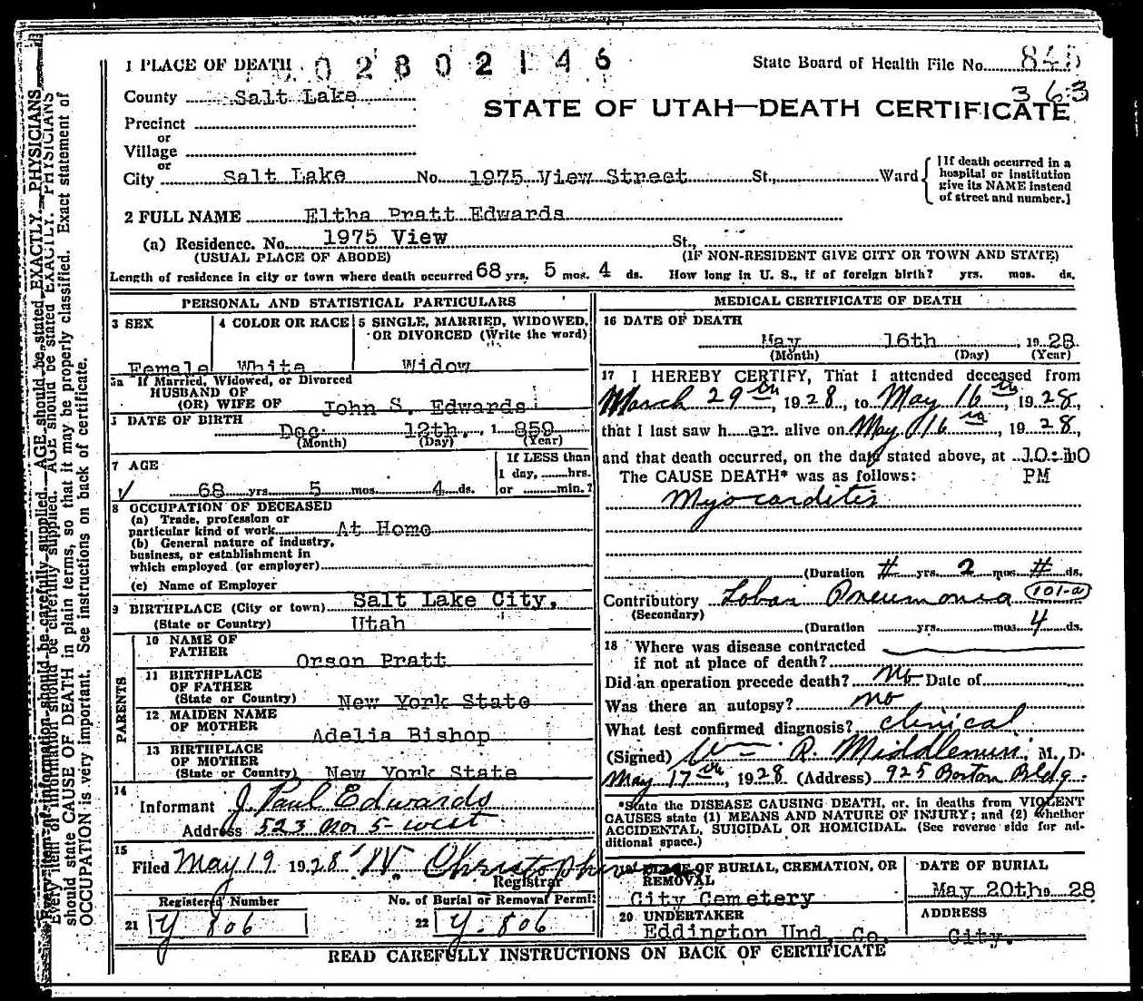 Eltha pratt edwards death certificate death certificate of eltha pratt edwards 1betcityfo Choice Image