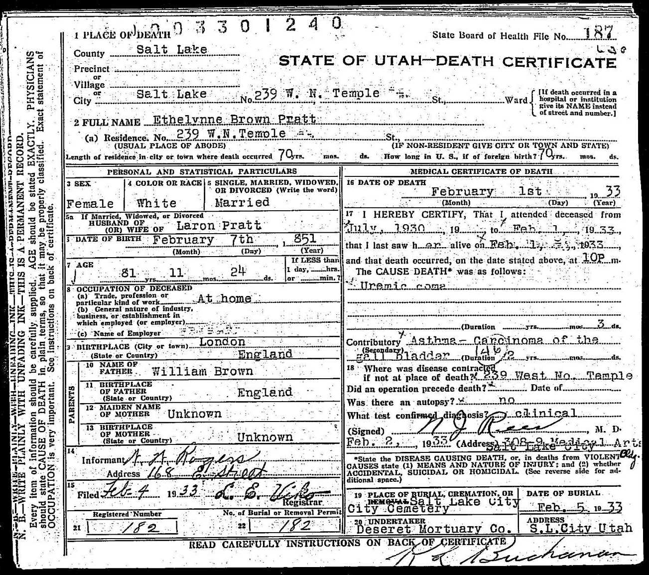 Ethelynne brown pratt death certificate death certificate of ethelynne brown pratt 1betcityfo Choice Image