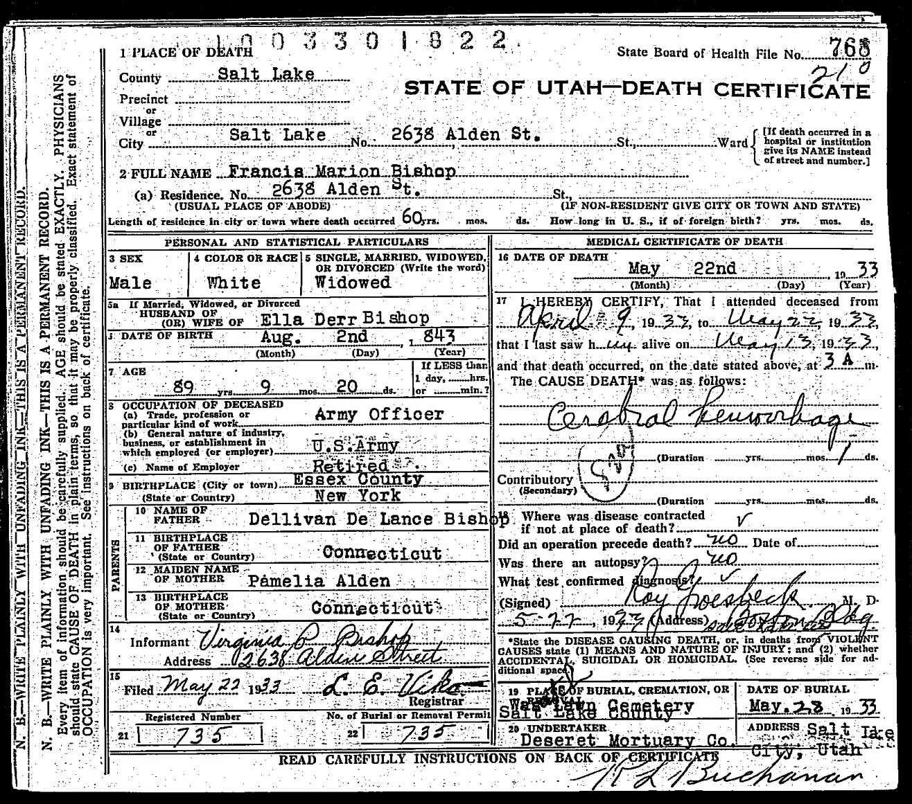 death certificate of francis marion bishop