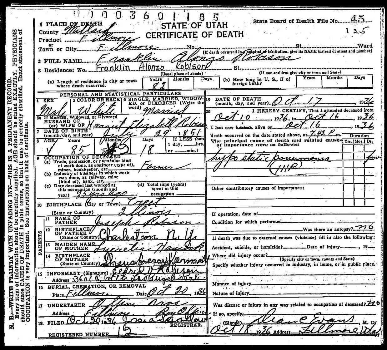 death certificate of franklin alonzo robison