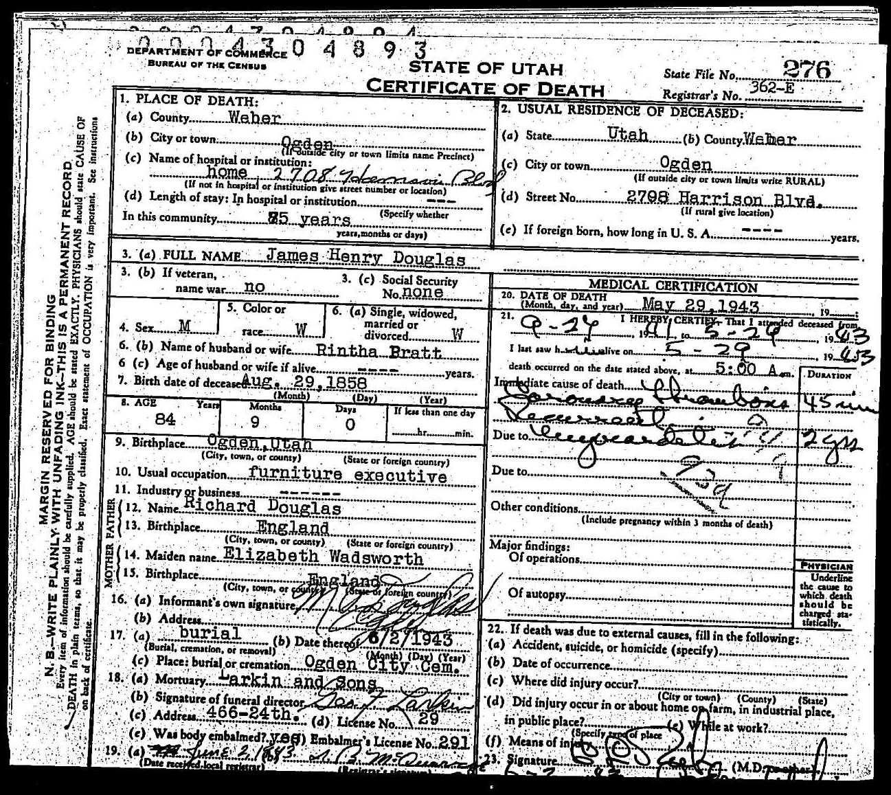death certificate of james henry douglas