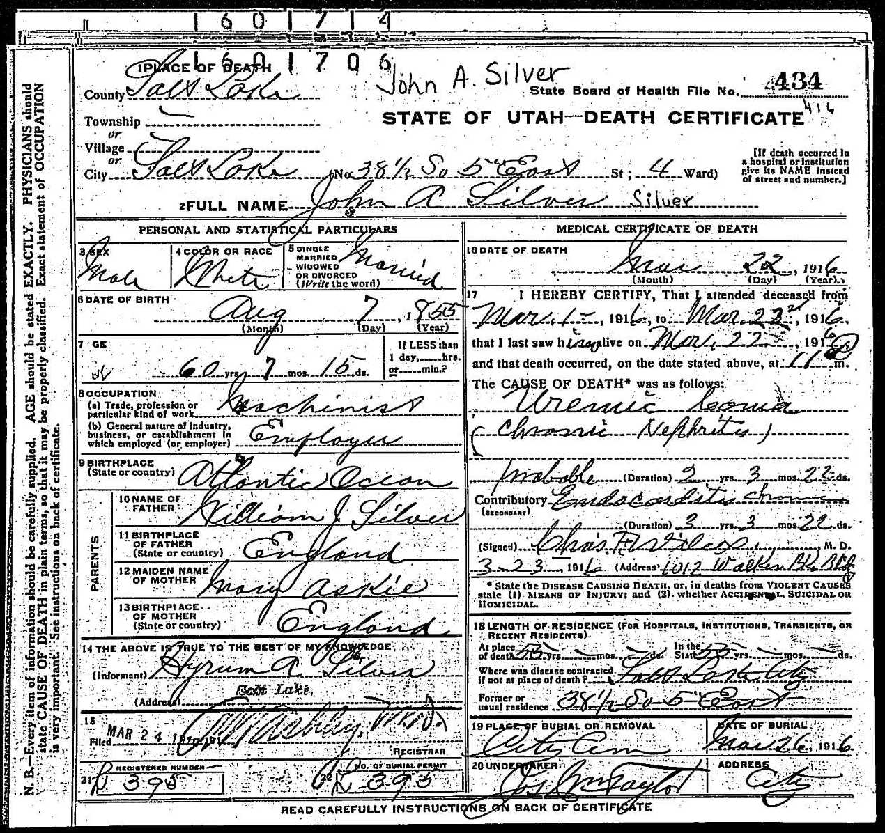 death certificate of john askie silver