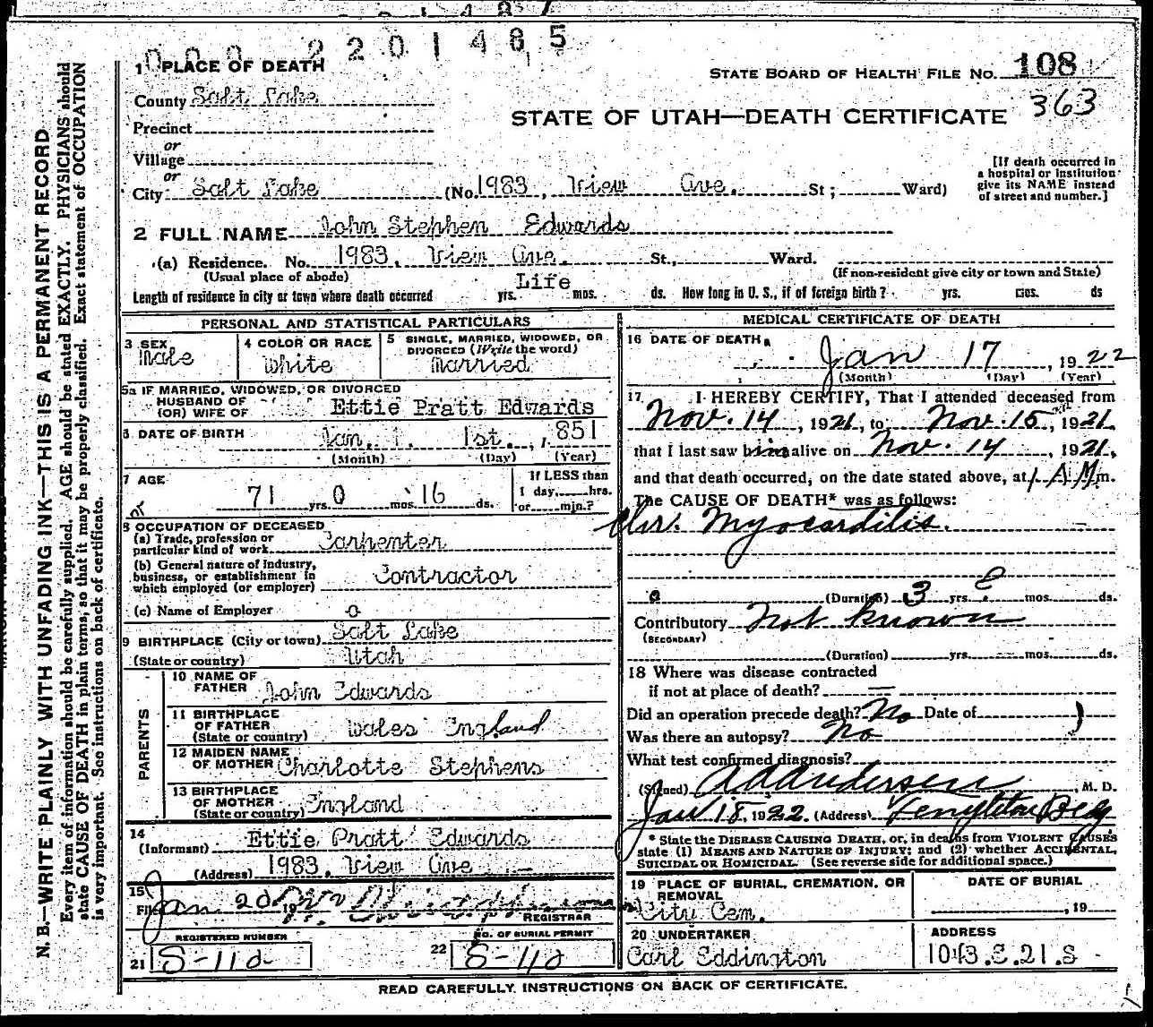 death certificate of john stephen edwards