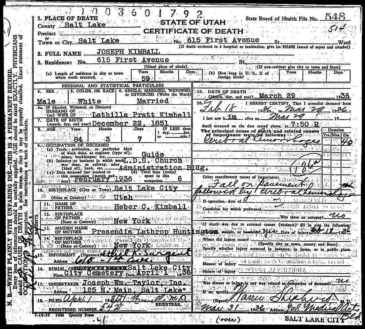 death certificate of joseph kimball
