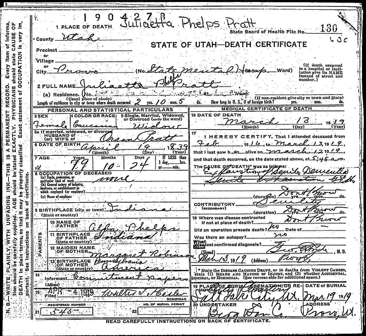 death certificate of juliaetta phelps pratt