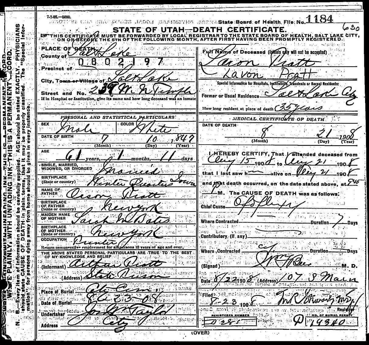 death certificate of laron pratt