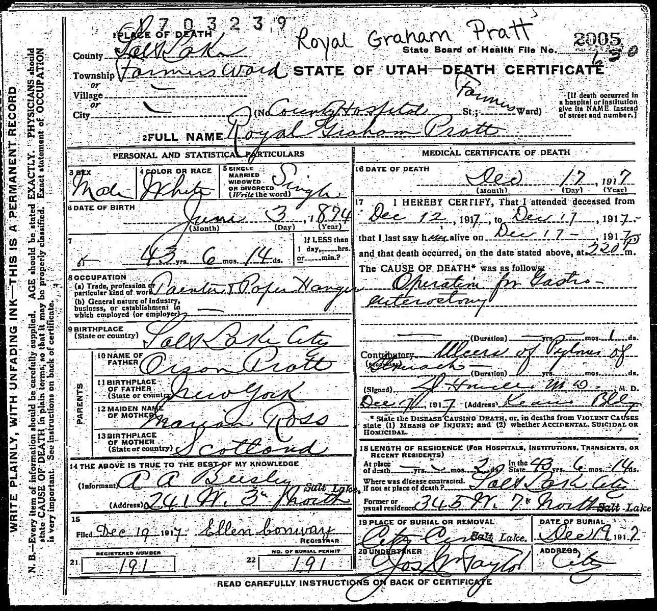 Royal graham pratt death certificate death certificate of royal graham pratt 1betcityfo Choice Image