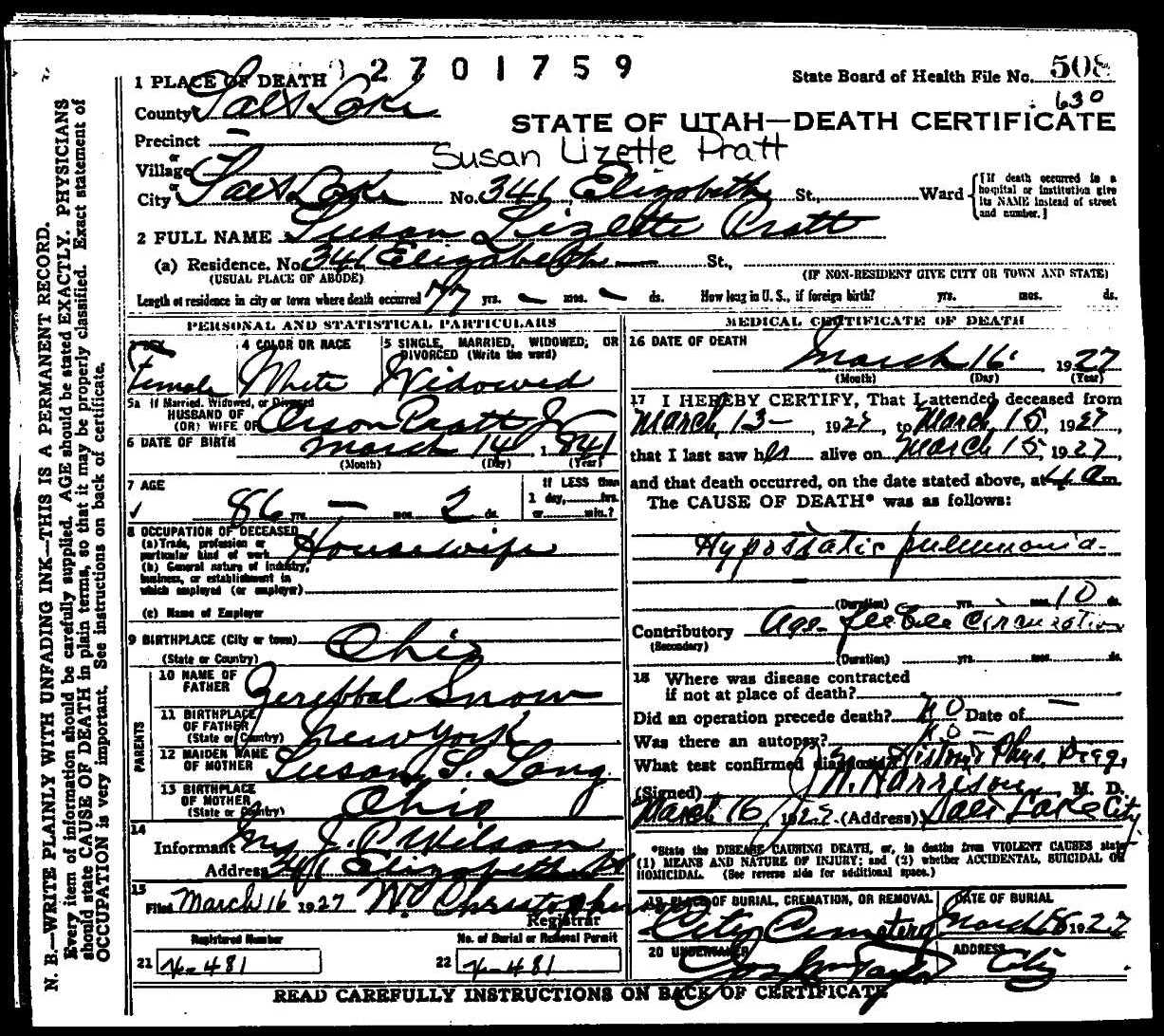 death certificate of susan lizette snow pratt