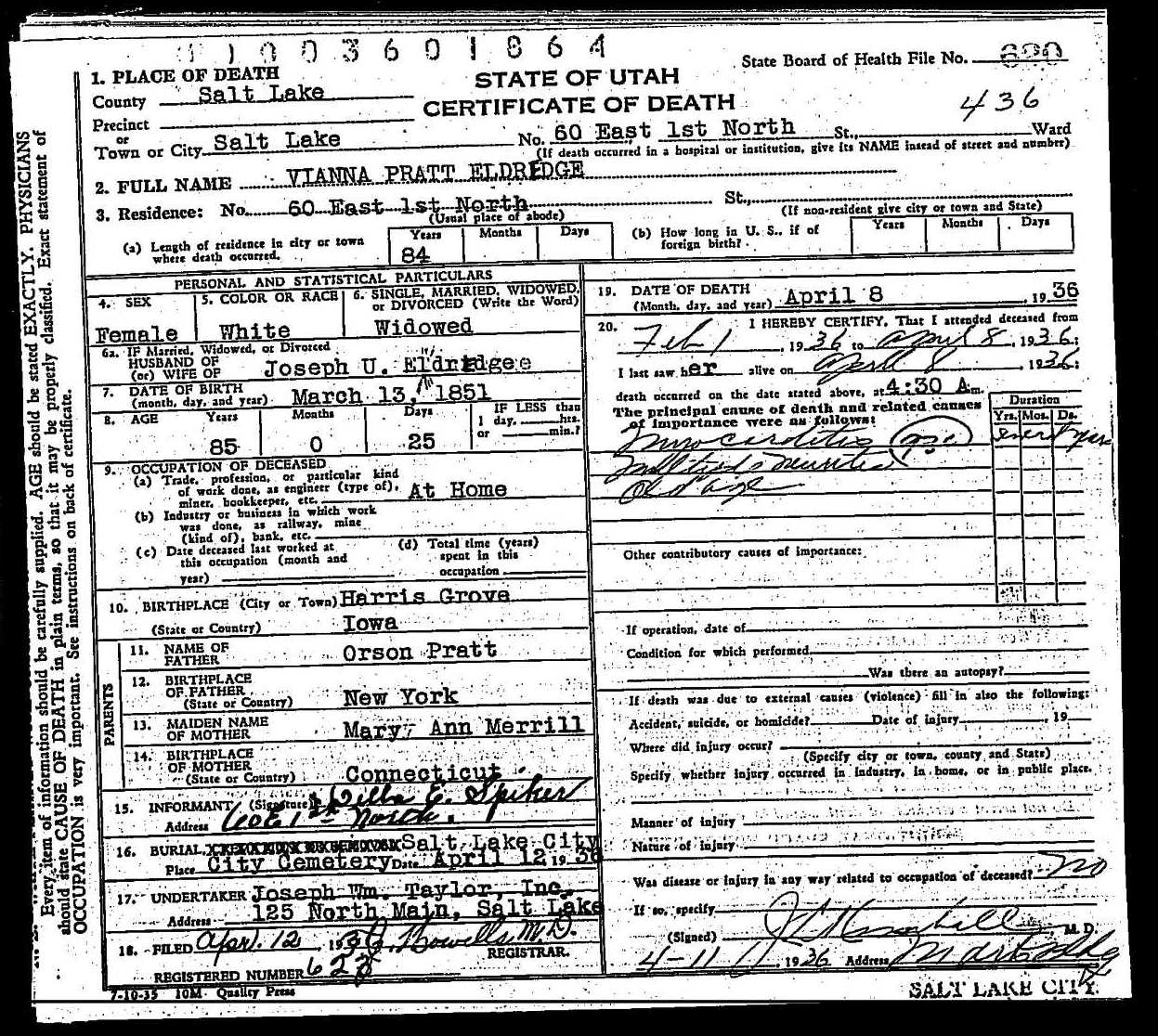 death certificate of vianna pratt eldredge