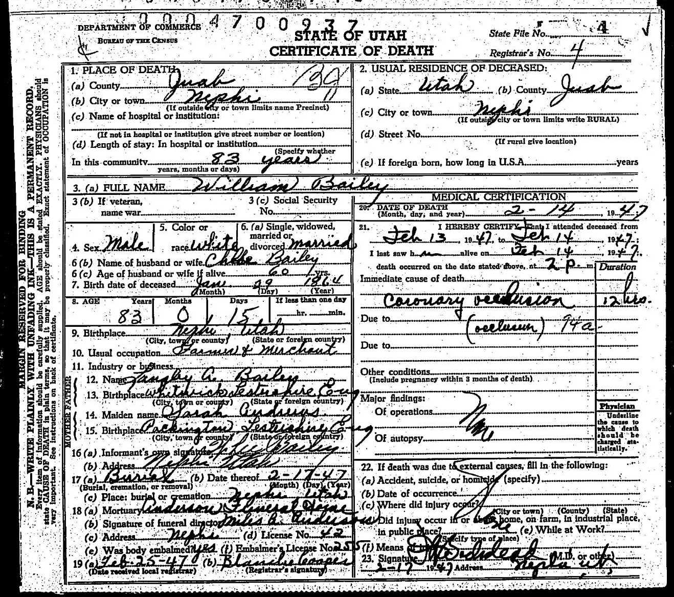 William Bailey Death Certificate