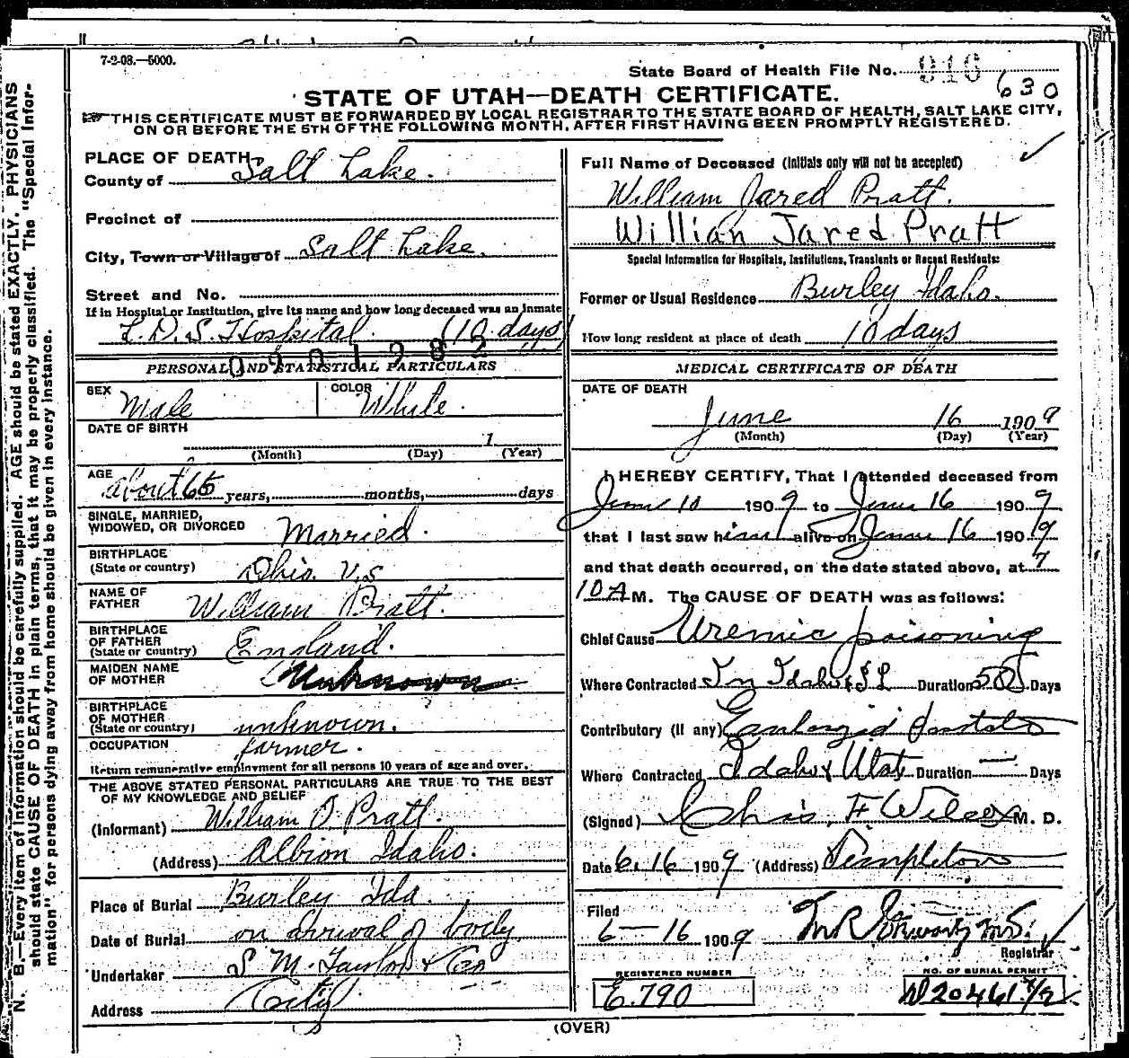 William jared pratt death certificate death certificate of william jared pratt 1betcityfo Choice Image