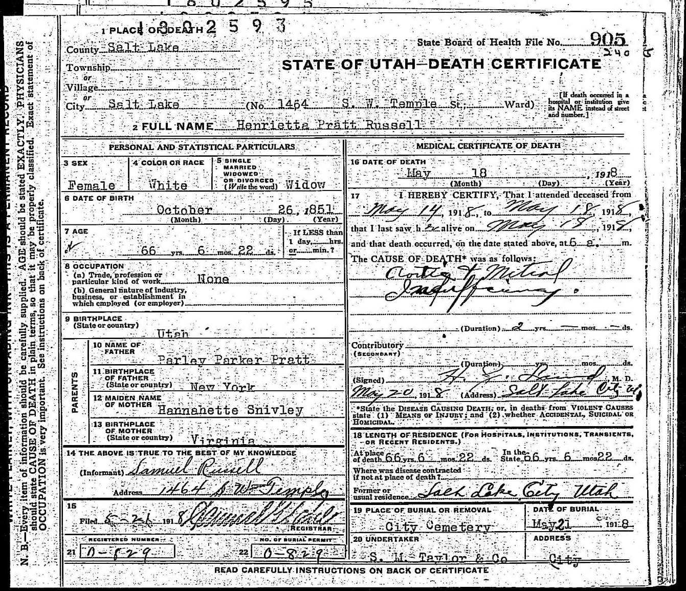 Henrietta Pratt Russell Death Certificate