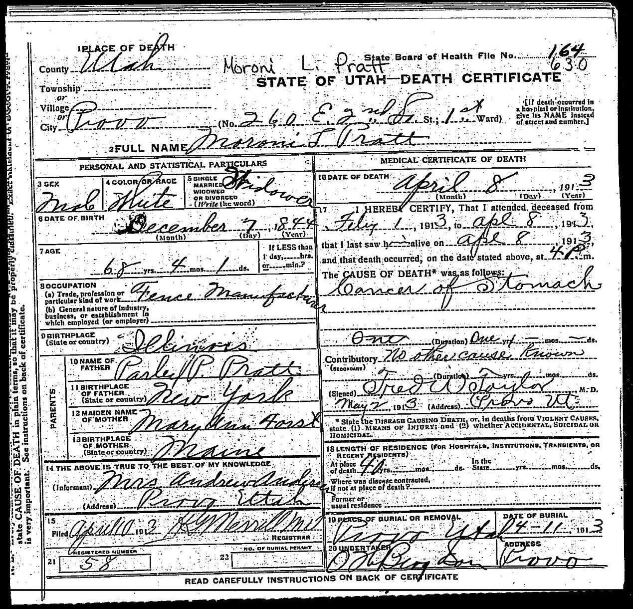Moroni L. Pratt Death Certificate